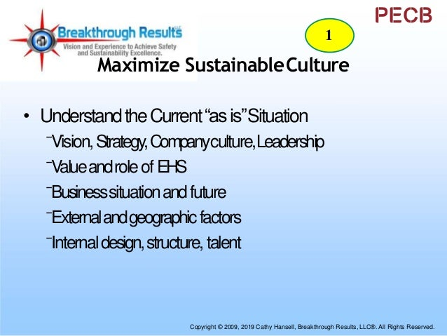 """Maximize SustainableCulture • DefinePossible""""canbe""""State ⁻ CompanyandBusinessModels ⁻ LeadershipRolesof BusinessandEHS ⁻ M..."""