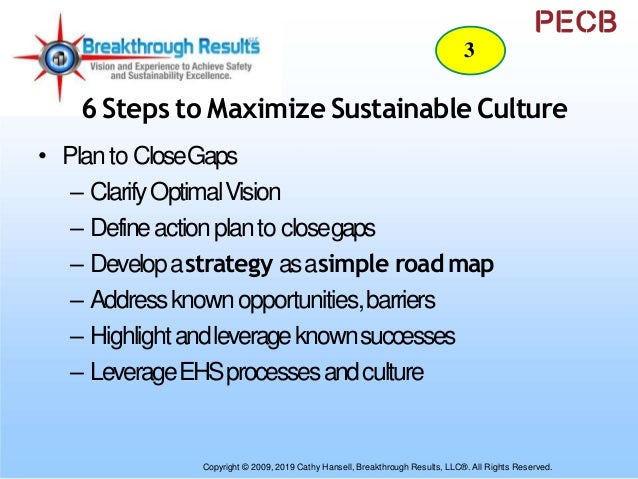 6 Steps to Maximize Sustainable Culture • BoardandSeniorLeadershipConfirmation – Data-basedconsequencesof currentbusiness ...