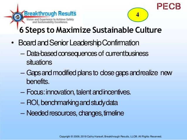 6 Steps to Maximize Sustainable Culture • ImplementationStrategy – Roadmap– Align,Integrate,Systemic – ChangeModel – Roles...