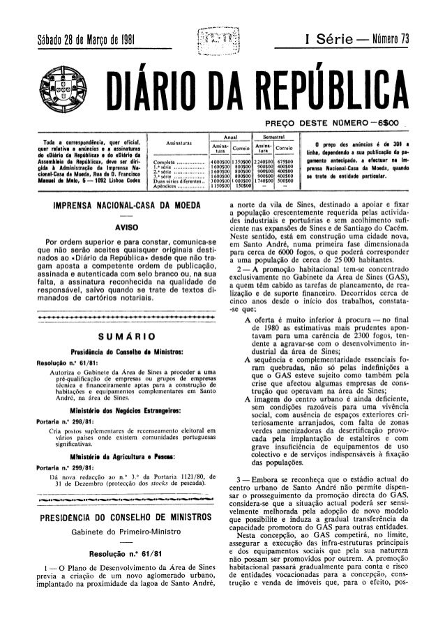 GABINETE DA ÁREA DE SINES - Resolução 61/81, de 10 de Março