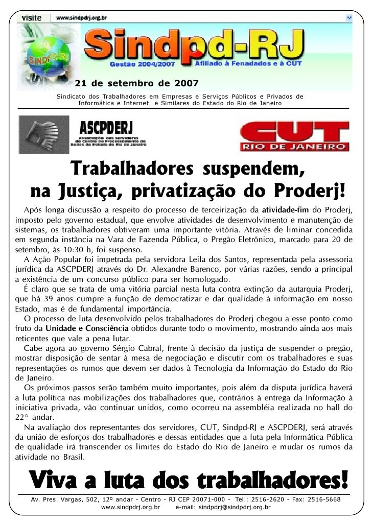 21 de setembro de 2007            Sindicato dos Trabalhadores em Empresas e Serviços Públicos e Privados de               ...