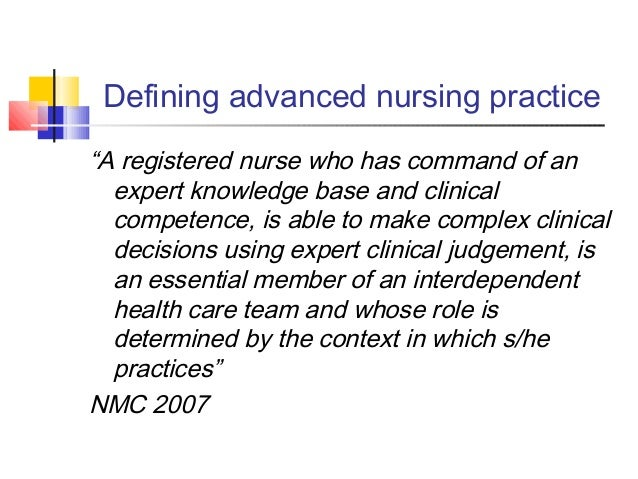 the development of advanced practice nursing Development of preceptor skills: precepting the aprn student this hybrid program is designed for clinicians who have precepted, are currently precepting, or will precept maryland advanced.