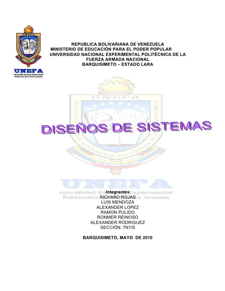 REPUBLICA BOLIVARIANA DE VENEZUELA MINISTERIO DE EDUCACIÓN PARA EL PODER POPULAR UNIVERSIDAD NACIONAL EXPERIMENTAL POLITÉC...