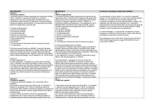DM 18354/2009 DM 6793/2018 Commenti e annotazioni relative alle modifiche Articolo 1 Premesse e obiettivi II presente Decr...