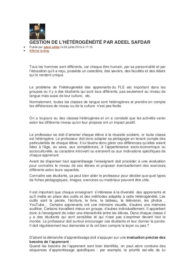 GESTION DE L'HÉTÉROGÉNÉITÉ PAR ADEEL SAFDAR  Publié par adeel safdar le 26 juillet 2016 à 17:16  Afficher le blog Tous l...