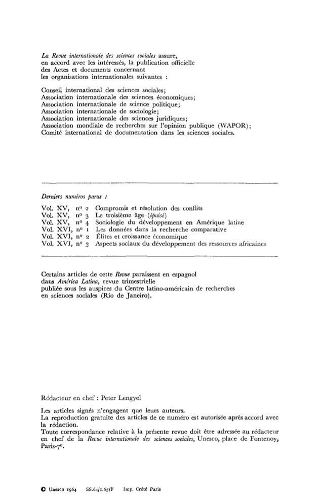 Problèmes posés par une étude des sciences sociales et humaines, RISS, vol.16, n° 4, 1964 Slide 2