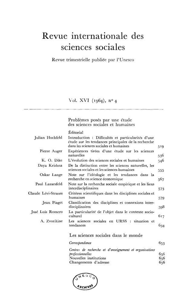 Problèmes posés par une étude des sciences sociales et humaines, RISS, vol.16, n° 4, 1964 Slide 3