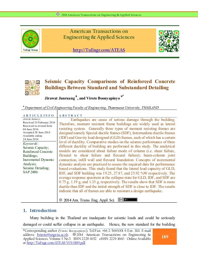 American Transactions on Engineering & Applied Sciences http://TuEngr.com/ATEAS Seismic Capacity Comparisons of Reinforced...