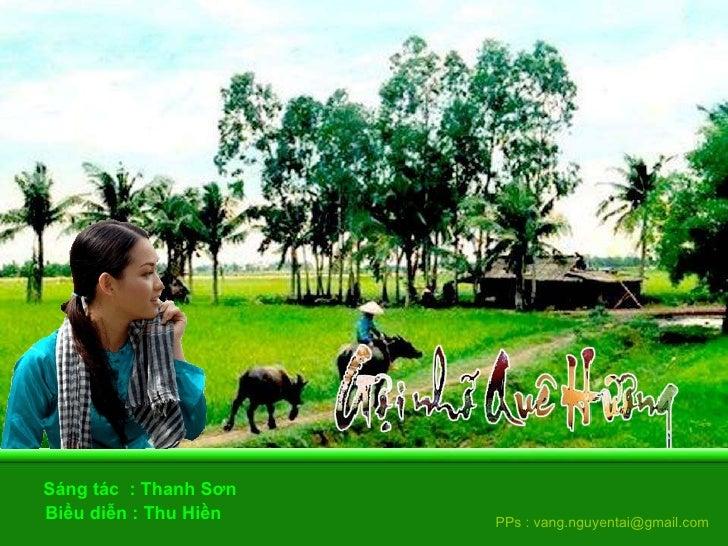 Biểu diễn : Thu Hiền  Sáng tác  : Thanh Sơn  PPs : vang.nguyentai@gmail.com