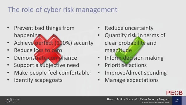 ©2019 Information Security Forum Limited How to Build a Successful Cyber Security Program 17 • Reduce uncertainty • Quanti...