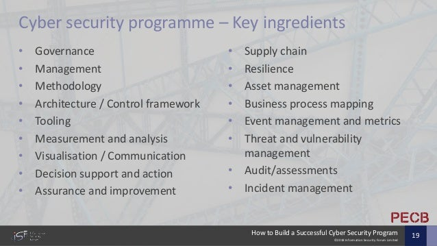 ©2018 Information Security Forum Limited How to Build a Successful Cyber Security Program 19 Cyber security programme – Ke...