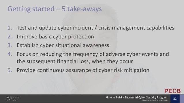©2019 Information Security Forum Limited How to Build a Successful Cyber Security Program 22 Getting started – 5 take-away...