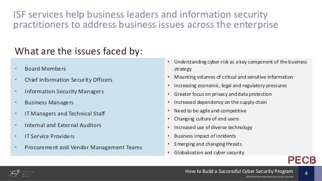 ©2019 Information Security Forum Limited How to Build a Successful Cyber Security Program 4 ISF services help business lea...