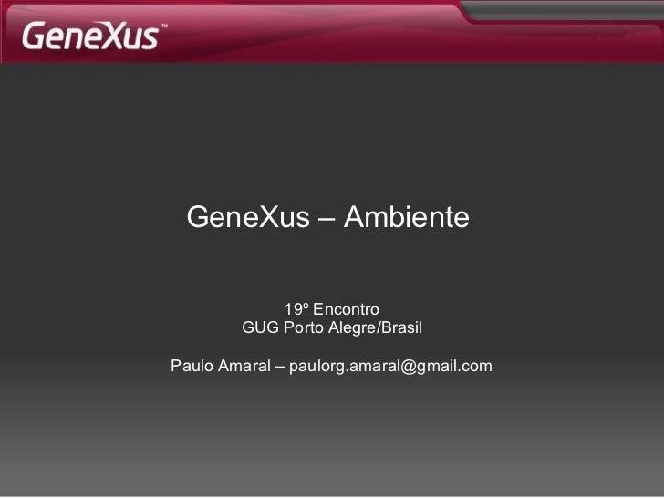 GeneXus –  Ambiente   19º Encontro GUG Porto Alegre/Brasil Paulo Amaral – paulorg.amaral@gmail.com