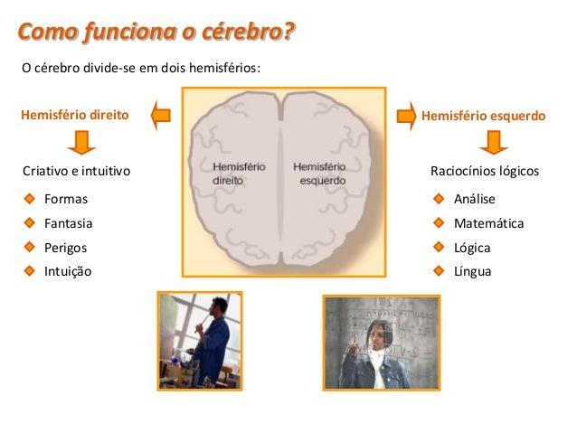 Como funciona o cérebro? O cérebro divide-se em quatro lobos:     Lobo frontal                               Lobo parietal...