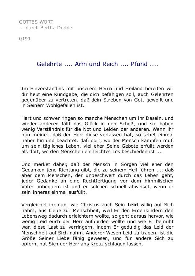 GOTTES WORT ... durch Bertha Dudde 0191 Gelehrte .... Arm und Reich .... Pfund .... Im Einverständnis mit unserem Herrn un...