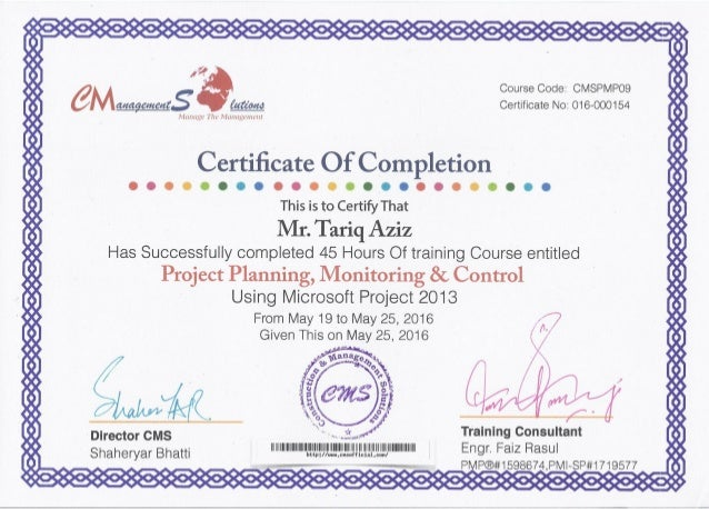 Project Training Certificate