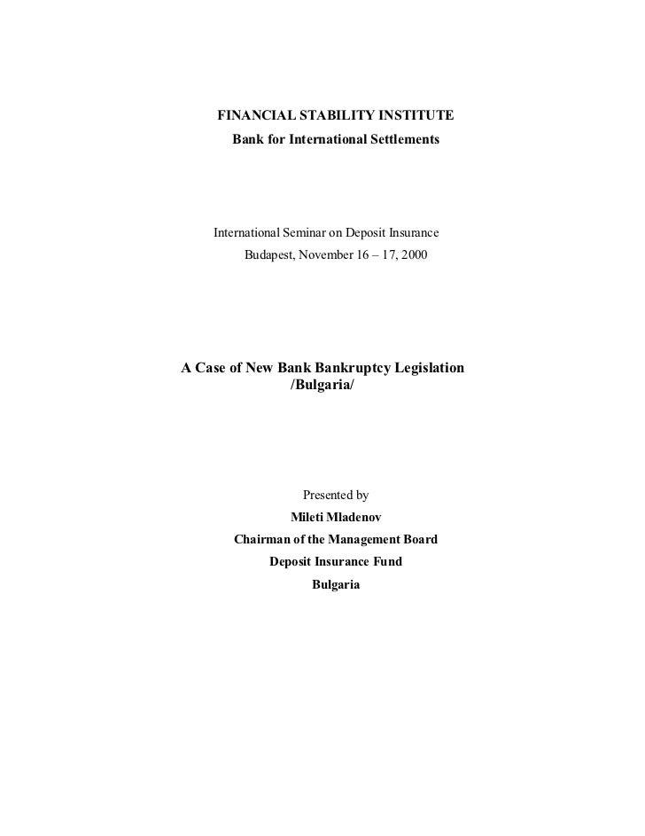 FINANCIAL STABILITY INSTITUTE       Bank for International Settlements    International Seminar on Deposit Insurance      ...