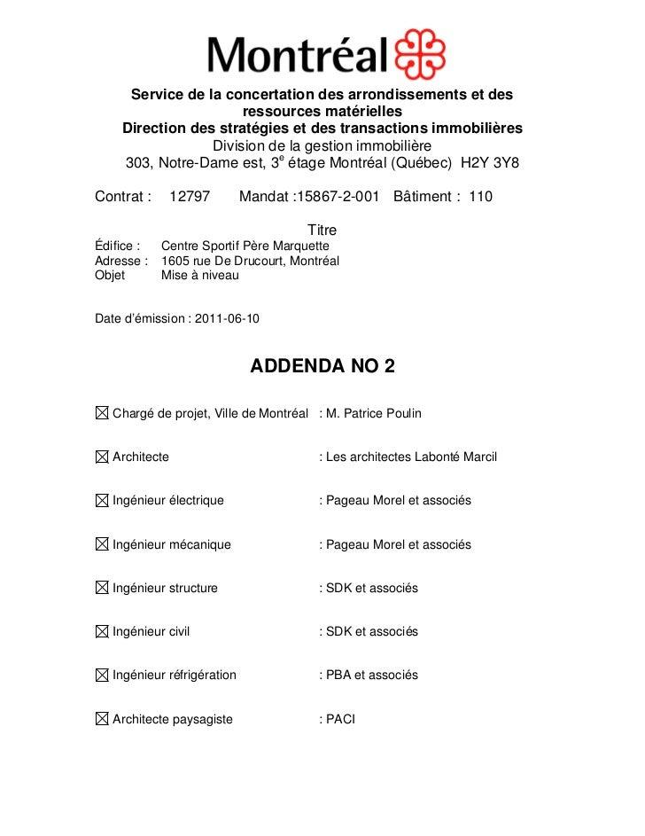 Service de la concertation des arrondissements et des                      ressources matérielles    Direction des stratég...