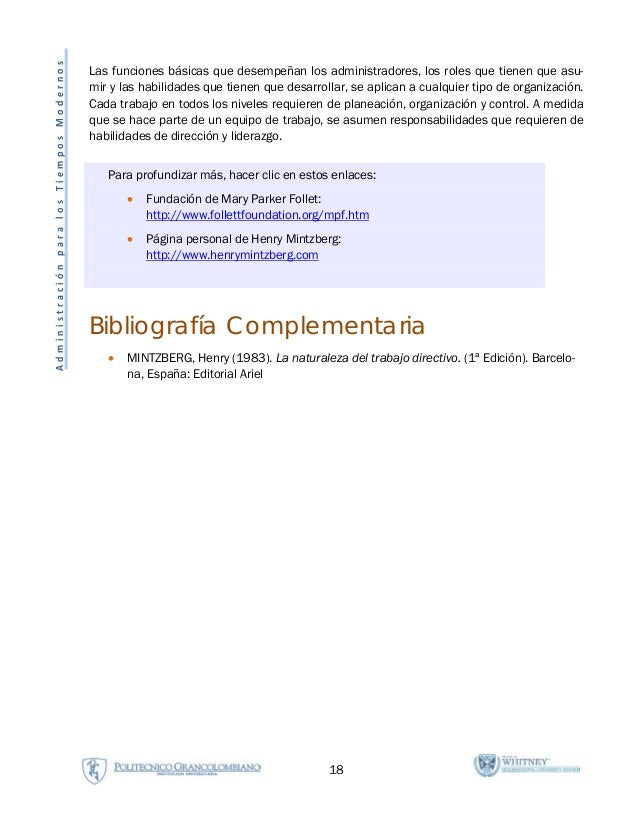 18 AdministraciónparalosTiemposModernos Las funciones básicas que desempeñan los administradores, los roles que tienen que...