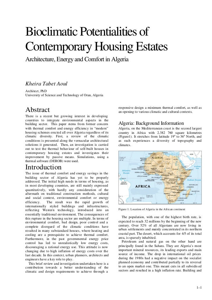 Bioclimatic Potentialities ofContemporary Housing EstatesArchitecture, Energy and Comfort in AlgeriaKheira Tabet AoulArchi...
