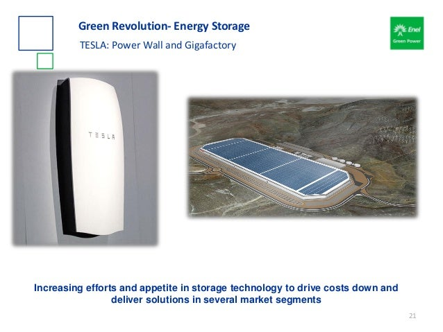 Green Revolution- Energy Storage TESLA: Power Wall and Gigafactory Increasing efforts and appetite in storage technology t...