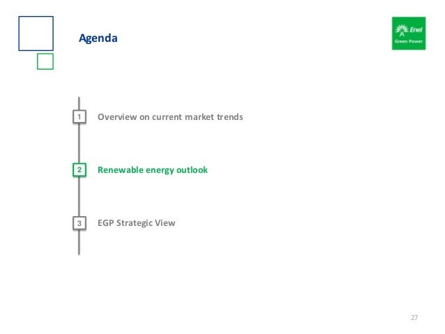 Agenda 2 Renewable energy outlook 3 EGP Strategic View 1 Overview on current market trends 27