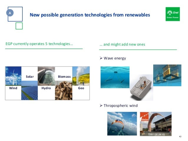 42 EGP currently operates 5 technologies… GeoHydroWind BiomassSolar … and might add new ones  Wave energy  Thropospheric...