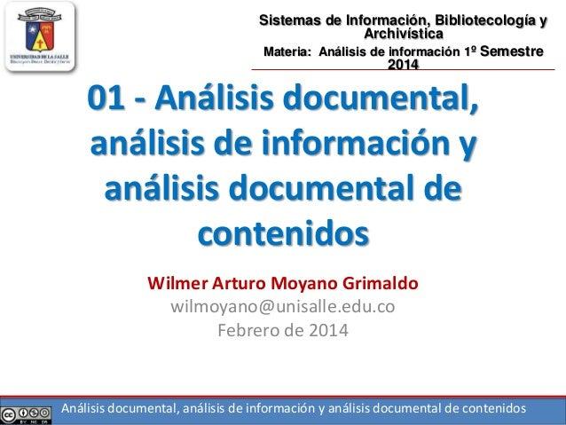Análisis documental, análisis de información y análisis documental de contenidos 01 - Análisis documental, análisis de inf...