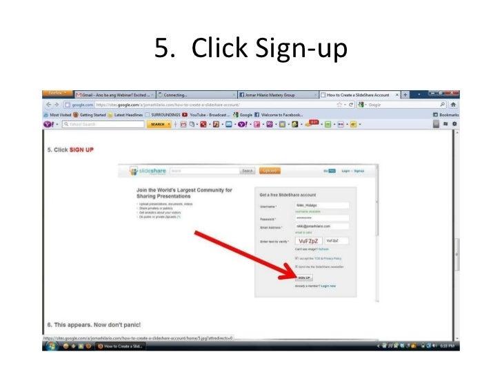 how to create a slideshare account