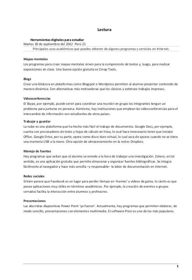 Lectura    Herramientas digitales para estudiarMartes 18 de septiembre del 2012 Perú 21     Principales usos académicos qu...