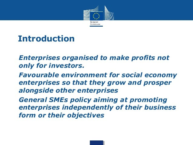 Introduction  • Enterprises organised to make profits not  only for investors.  • Favourable environment for social econom...
