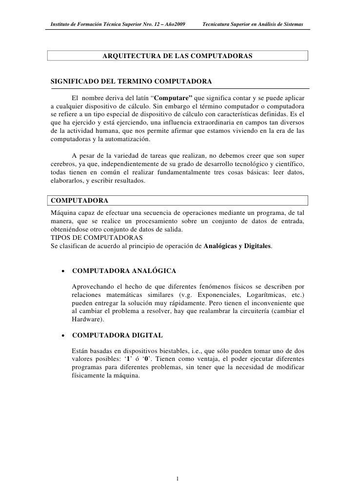 Instituto de Formación Técnica Superior Nro. 12 – Año2009   Tecnicatura Superior en Análisis de Sistemas                  ...