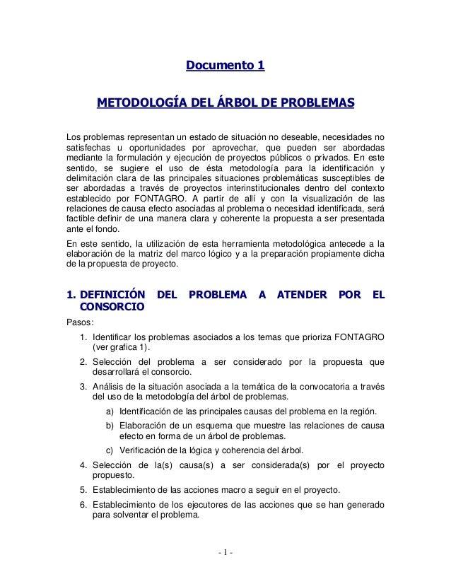 - 1 - Documento 1 METODOLOGÍA DEL ÁRBOL DE PROBLEMAS Los problemas representan un estado de situación no deseable, necesid...