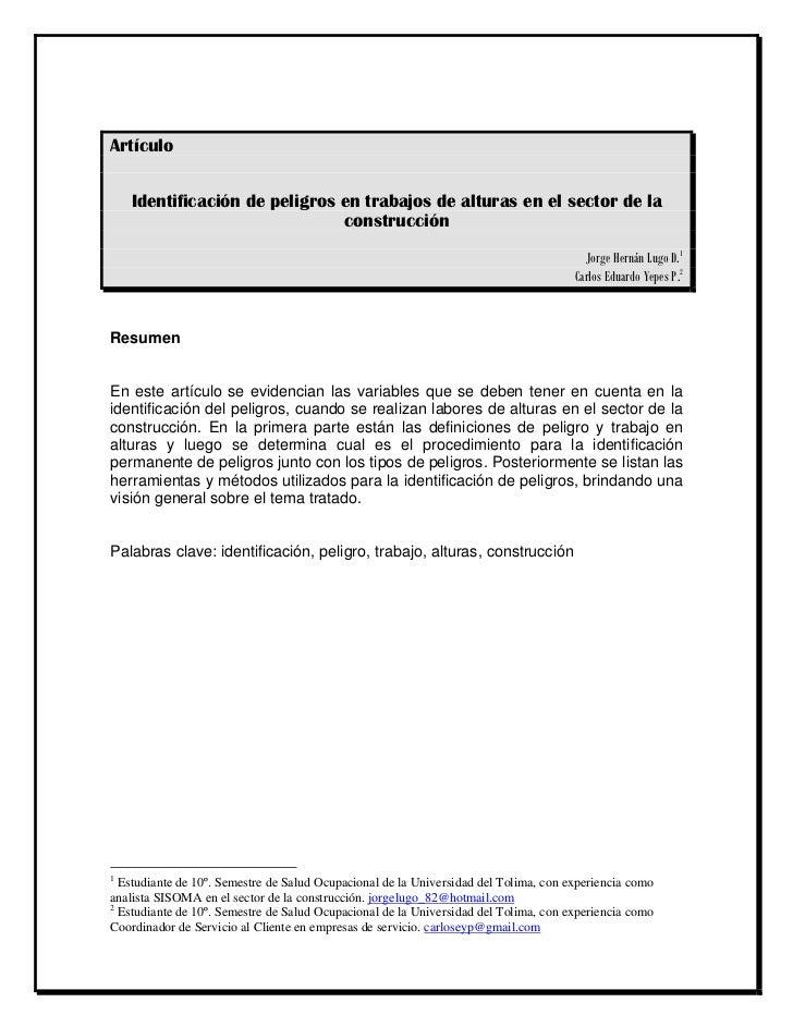 Artículo    Identificación de peligros en trabajos de alturas en el sector de la                               construcció...