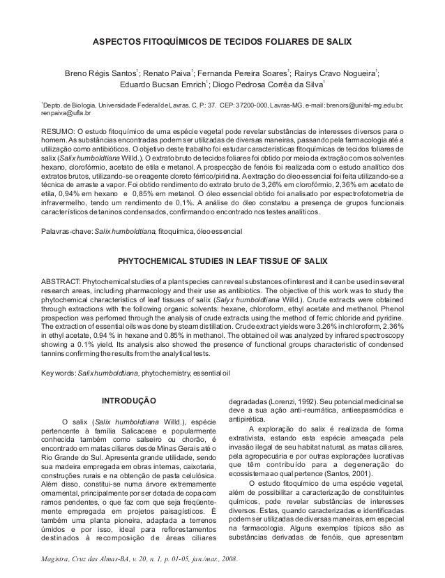 Magistra, Cruz das Almas-BA, v. 20, n. 1, p. 01-05, jan./mar., 2008. ASPECTOS FITOQUÍMICOS DE TECIDOS FOLIARES DE SALIX 1 ...