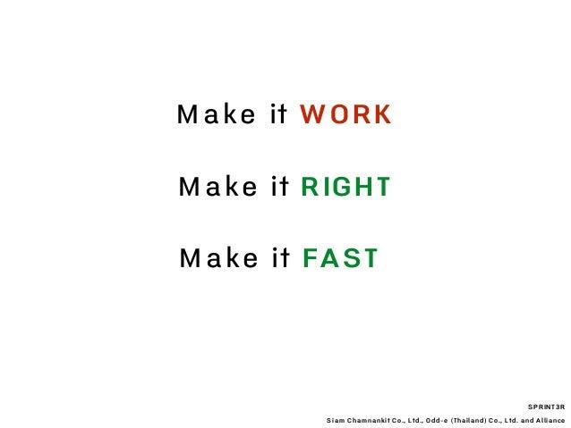 SPRINT3R Siam Chamnankit Co., Ltd., Odd-e (Thailand) Co., Ltd. and Alliance Make it WORK Make it RIGHT Make it FAST