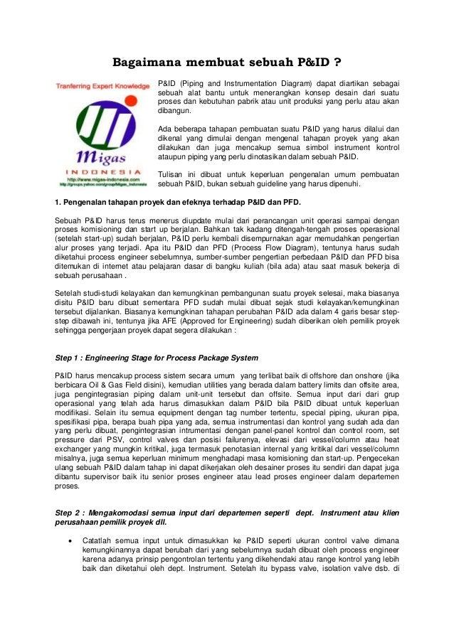 Bagaimana membuat sebuah P&ID ? P&ID (Piping and Instrumentation Diagram) dapat diartikan sebagai sebuah alat bantu untuk ...