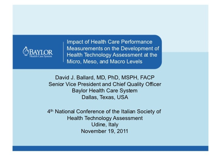 Impact of Health Care Performance        Measurements on the Development of        Health Technology Assessment at the    ...