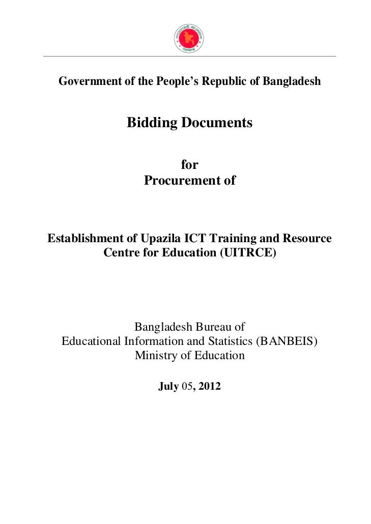Government of the People's Republic of Bangladesh              Bidding Documents                      for                 ...