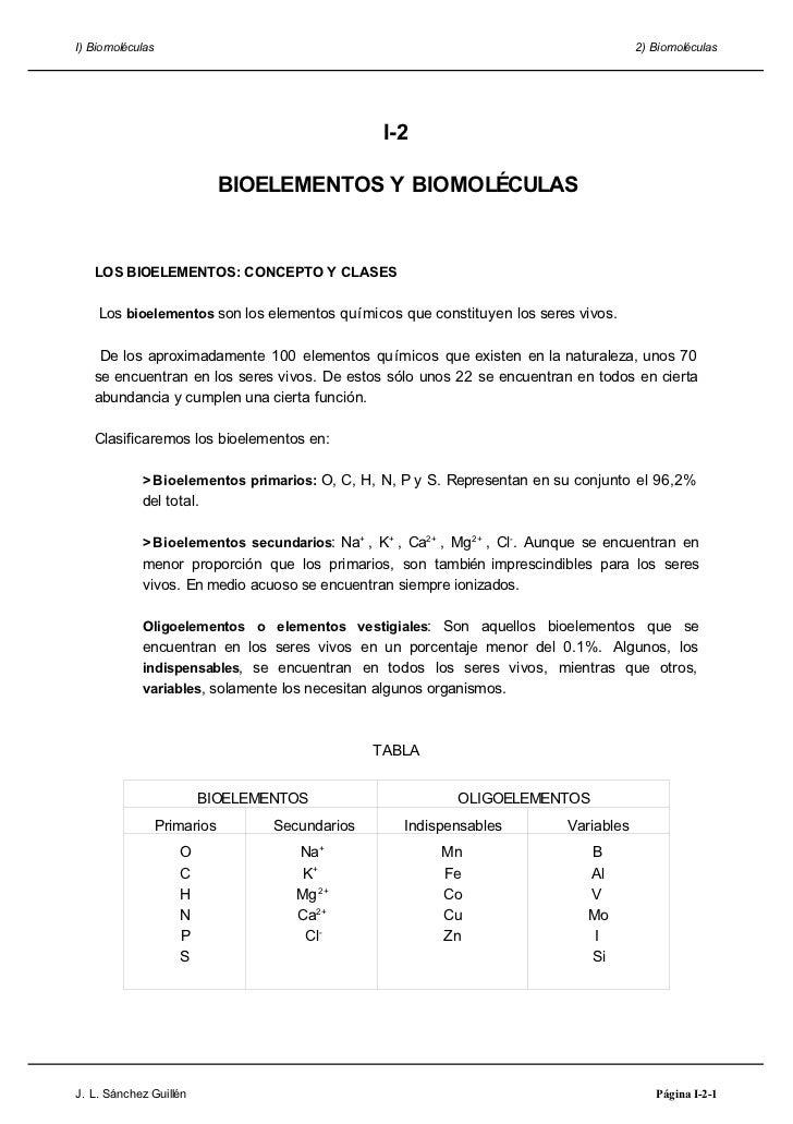 I) Biomoléculas                                                                       2) Biomoléculas                     ...