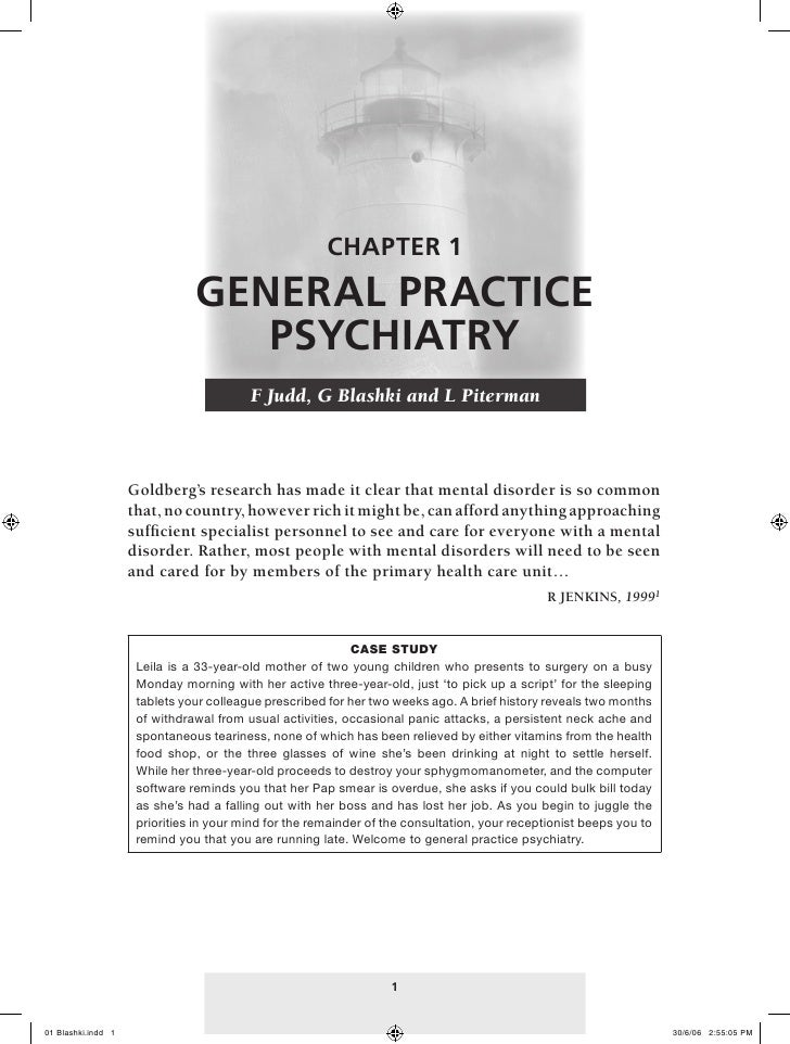 CHAPTER 1                               GENERAL PRACTICE                                  PSYCHIATRY                      ...