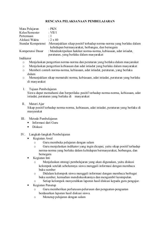 RENCANA PELAKSANAAN PEMBELAJARAN Mata Pelajaran : PKN Kelas/Semester : VII/1 Pertemuan : 1 Alokasi Waktu : 2 x 40 Standar ...