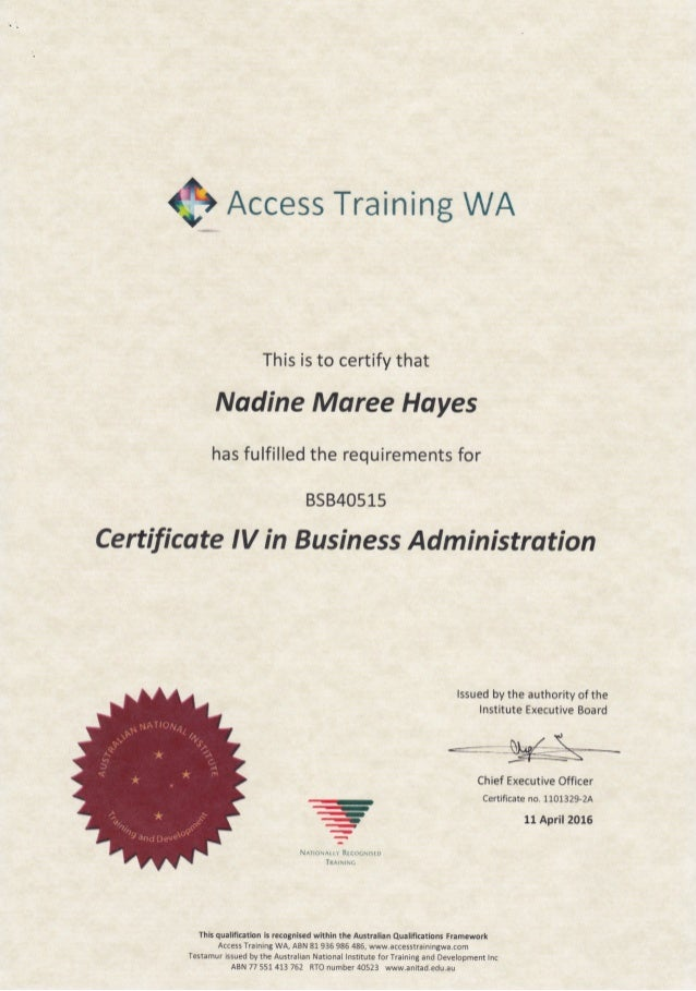 cert iv business bsbwhs401a Our nationally recognised bsb40215 certificate iv in business qualification is ideal for those seeking to advance their career within the lucrative business sector.