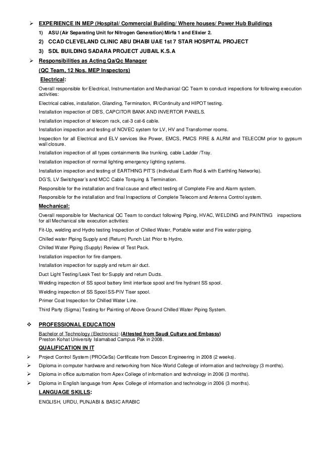 Updated Cv Lead Qaqc Engineer Acting Qaqc Manager