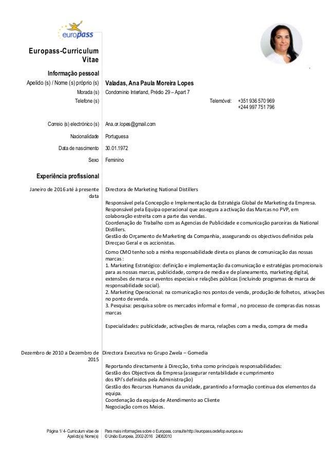Página 1/ 4- Curriculum vitae de Apelido(s) Nome(s) Para mais informações sobre o Europass, consulte http://europass.cedef...