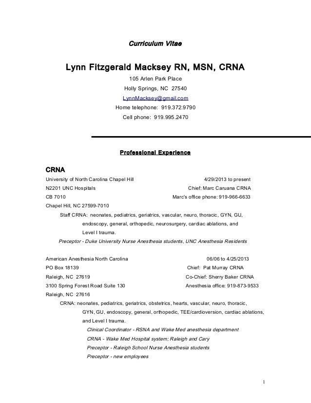 Sample Crna Resume Cover Letter Vosvetenet – Nurse Anesthetist Resume