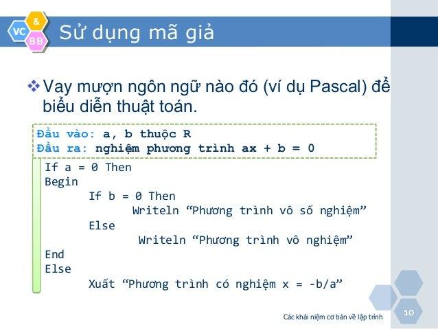 &VC     BB            Sử dụng mã giả     Vay mượn ngôn ngữ nào đó (ví dụ Pascal) để      biểu diễn thuật toán.      Đầu v...