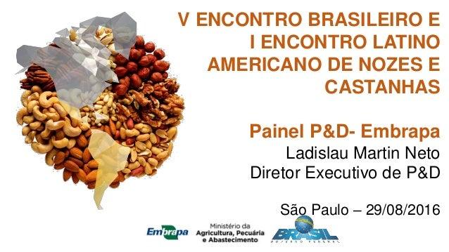 V ENCONTRO BRASILEIRO E I ENCONTRO LATINO AMERICANO DE NOZES E CASTANHAS Painel P&D- Embrapa Ladislau Martin Neto Diretor ...