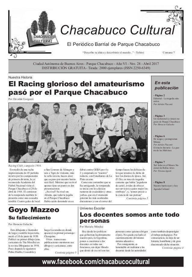 """El Periódico Barrial de Parque Chacabuco """"Describe tu aldea y describirás el mundo..."""" - Tolstoi Comuna 7 Ciudad Autónoma ..."""
